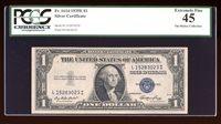 DBR 1935-E $1 Silver Fr. 1614 LI Block PCGS 45 Serial L15283023I