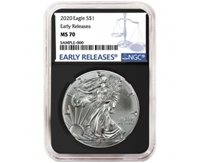 2020-W Proof $1 American Silver Eagle NGC PF70UC Blue ER Label Retro Core