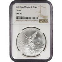 2019 1 oz Silver Mexican Libertad Coins NGC MS70