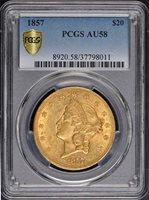 1858-S $20 Gold Liberty AU-58 NGC SKU#153629