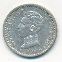 1904 SPAIN SILVER 50 CENTS FIFTY-VERY NICE CIRCULATED SPANISH COIN-FREE S/H-INV3