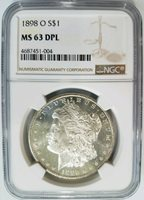 1898 O Silver Morgan Dollar NGC MS 63 DPL Deep Mirrors Proof Like PL DMPL