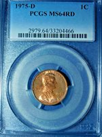 1975-D 1C RD Lincoln Memorial Cent-PCGS MS64RD--228-1