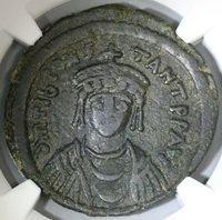 578 Tiberius II Constantine Byzantine 3/4 Follis NGC VF Pedigree (19041602C)