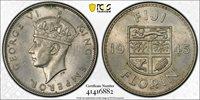 British Fiji, 1945 George VI Florin. PCGS AU 58. 100,000 Mintage. Key Date.