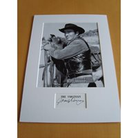 A signed page by James Drury mounted with a 10x8 photograph showing him in The Virginian. James Drury D - The Virginian.