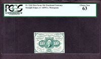 "US 10c 1st Issue Fractional Currency w/ ""ABC"" 1st Issue FR 1242 PCGS 63 Ch CU"