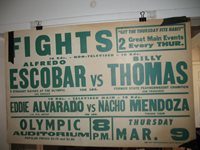 1961 ALFREDO ESCOBAR vs BILLY THOMAS Vintage On-Site Boxing Poster OLYMPIC AUDITORIUM, LOS ANGELES
