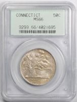 1935 Connecticut 50C Silver Commemorative Half Dollar PCGS MS 66 OGH Original
