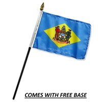 DELAWARE FLAG DESK SET WITH BASE 4x6 INCHES - TABLE STICK FLAG
