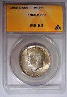 1968 D Kennedy Silver Half Dollar ANACS MS 63 599