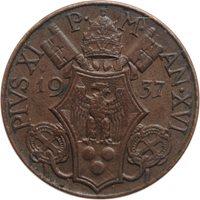 """Vatican City 5 centesimi 1937, AU, """"Pope Pius XI (1929 - 1938)"""""""