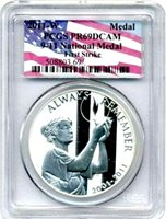 2011-W SEPTEMBER 11 SILVER PROOF 9/11 NATIONAL MEDAL FIRST STRIKE PCGS PR69DCAM