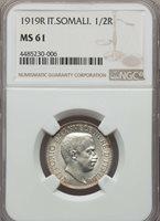 1919 R Italian Somaliland 1/2 Half Rupia, NGC MS 61, Lusterous & Scarce In MS