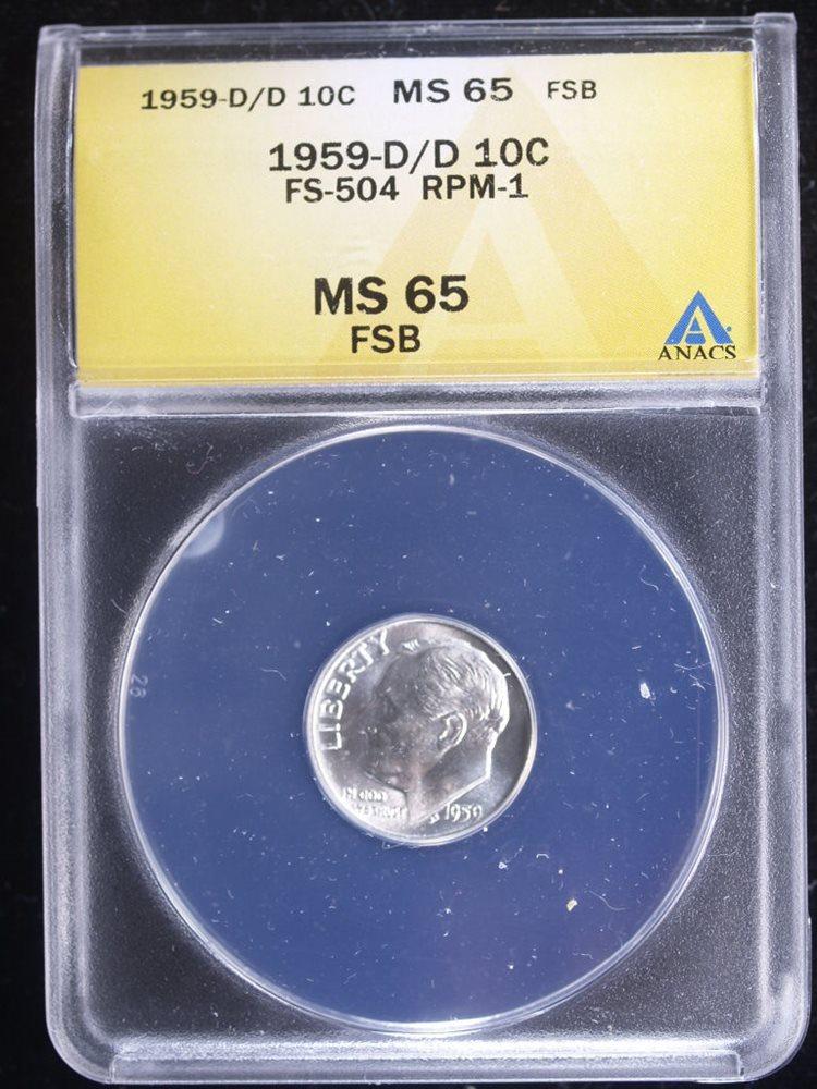 1959-D 10C FSB Roosevelt Dime #1 ANACS MS65 FSB FS-504 D/D RPM-1