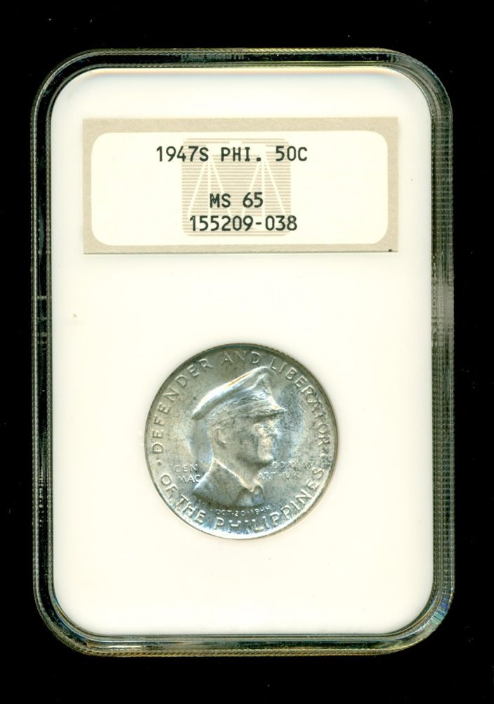 Philippines Philippines Silver 1947 S 50 Centavos Ngc Ms65 General Douglas Macarthur Km# 184 Asia