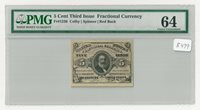 Fr#1236 5¢ 3rd Issue Spencer Clark Fractional Currency, Red Back, PMG 64