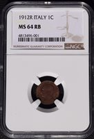 1912 R Italy 1 Centesimo, NGC MS 64 RB, Better Date