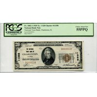 1929 $20 National Banknote Charleston IL Charter #11358 AU55PPQ PCGS