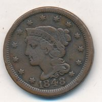 1848 BRAIDED HAIR LARGE CENT-VERY NICE CIRCULATED COPPER COIN-SHIPS FREE! INV:1