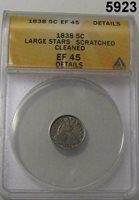 1838 SEATED LIBERTY HALF DIME LARGE STARS ANACS CERT EF45 SCRATCHED CLEANED#5923