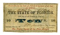 FL 10 Cents TALLAHASSEE State of Florida Cr-30A Tough 1863 No serial number. One signature space. Four different signers. Printed upon the back of Bank of Fernandina notes. Anyone who has ever tried to acquire a Bank of Fernandina note knows how rare and expensive those are. Much more rare than reference books provide. This note was housed in a PMG grading service holder at VF 20 (see pic 2). An extraordinary Florida note. FINE PMG VF 20