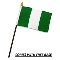 NIGERIA FLAG DESK SET WITH BASE 4x6 INCHES - TABLE STICK FLAG
