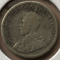 1929 ~ CANADA ~ 10 CENTS ~ GEORGE V ~ G6 Condition