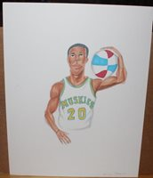 Donnie Freeman Minnesota Muskies Artist Proof Drawing from ABA Basketball First Year Rookie Card Set