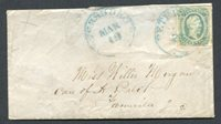 PJ's Auctions-CSA #12E Green on Cover w/ Blue Petersburg, VA cxl + orig letter-