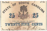 The Bank of the State of SouthCarolina 25c Fractional Note 1863. Palmetto Tree (center)XF-AU.