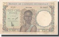 25 Francs French West Africa Banknote, 1949-06-29, Km:38
