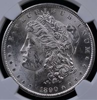 1890 S MORGAN DOLLAT NGC MS 61 CRISP STRIKE AND GREAT FLASHY WHITE LUSTER