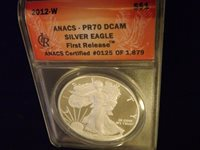 2012-W $1 Eagle First Release ANACS PR 70 DCAM