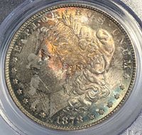 1878 7 TF Morgan Silver Dollar. Reverse of 1879. PCGS MS 64. Rainbow Toned!