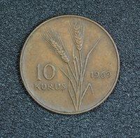 1969 TURKEY 10 KURUSH, VF