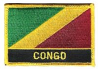CONGO FLAG EMBROIDERED PATCH WITH NAME - IRON-ON - NEW 2.5 x 3.5""