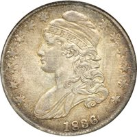 1836 Lettered Edge Capped Bust Half Dollar AU 53 NGC 50c C00045163
