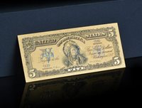 "TOUCHABLE COLORIZED>1899 ""GOLD"" SILVER CERTIFICATE INDIAN CHEIF Rep.* Banknotesq"