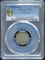VF-20 PCGS 1925 Australia Silver 6 Pence Very Fine # 407