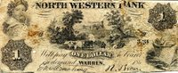 """USA - Local Currency and Scrip 1 Dollar Pick #: NP UK Poor (see scan)Other North Western Bank, Warren, PA - Note is delicate and well worn (1 ONLY in Stock) Brown Small vignettes of young girl wearing laurel on head, Farm scene with cows; back is blank (uniface note)Note 6 1/2"""" x 2 1/4"""" North and Central America None Discernible"""