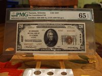1929 PMG 65 EPQ $20 FROM THE CONSOLIDATED NB OF TUCSON,AZ,TY.2,GREAT EYE APPEAL
