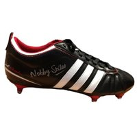 1966 World Cup hero Nobby Stiles signed retro boot