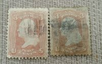 Lot of 2 US STAMPS 1861-1862 Issue 3 Cents