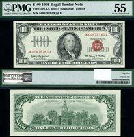 FR. 1550 $100 1966 Legal Tender A-A Block PMG AU55 Crazy
