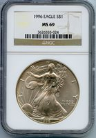1996 American Silver Eagle NGC MS69 Certified $1 Coin