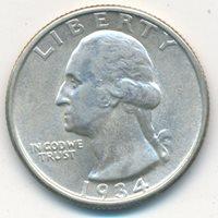1934 WASHINGTON SILVER QUARTER-MEDIUM MOTTO-UNCIRCULATED COIN-SHIPS FREE! INV:3