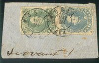 CSA #1 Stone 2 and CSA #4 Stone 2 USED inCombination for the double rate over 500 miles (bothstamps are 4-Marginbut the CSA #1 overlaps the top part of the CSA #4) tied to each otherand toa small blue paper piece by two strikes of the Mobile,Ala double circleCDS 18 MAY (1862). Excellent combination piece.