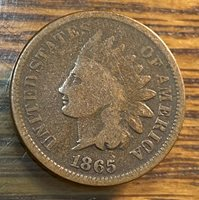 1865 Fancy 5 Indian Cent Original VG CHN