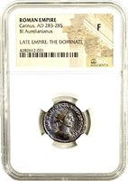 Ancient Roman Emperor Carinus Billion Coin NGC Certified Fine & Story